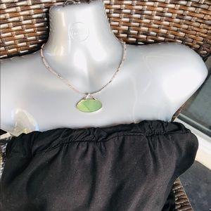 Lia Sophia Silver Tone Green stone Necklace